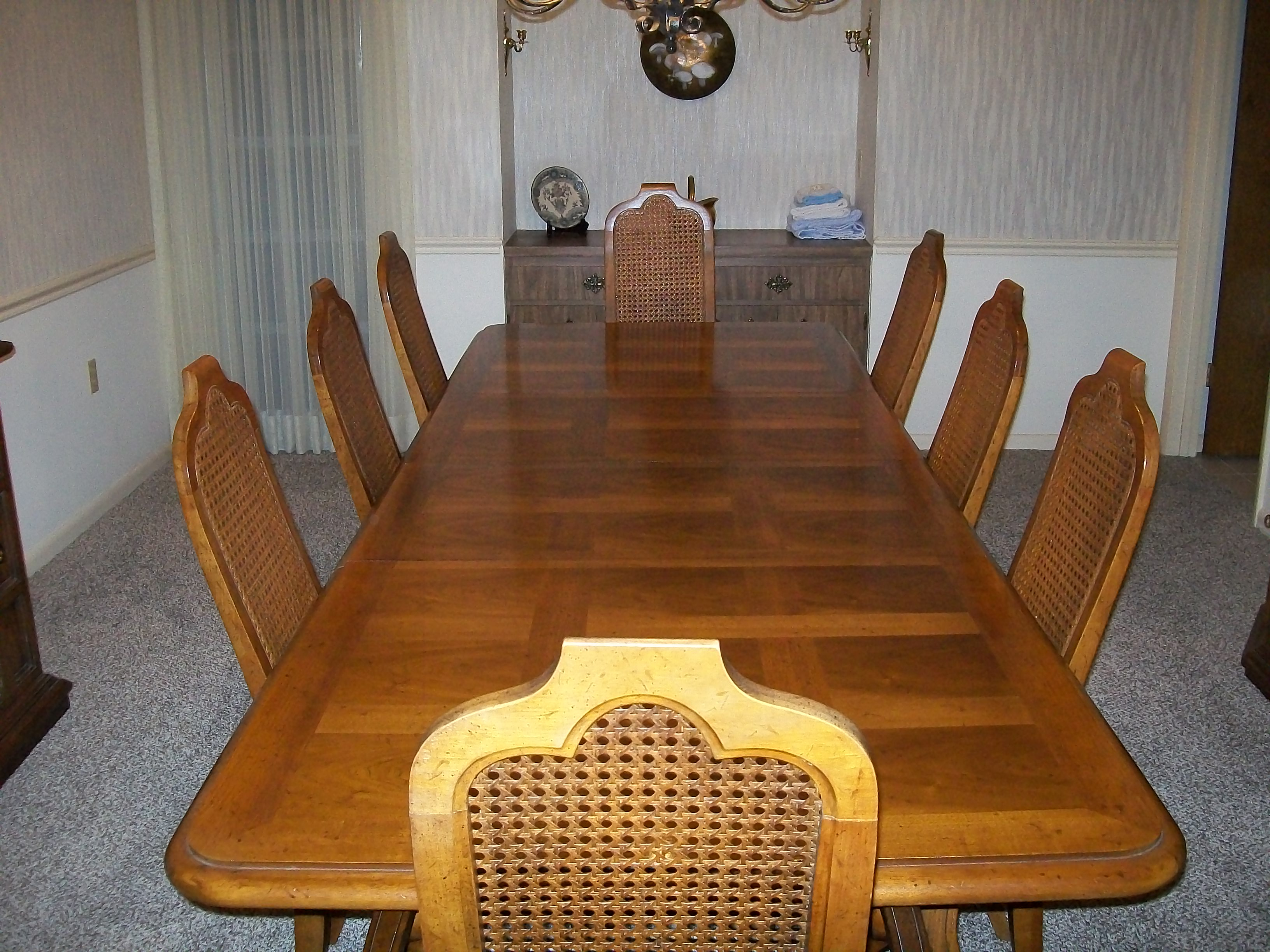 American Heritage dining room table with eight chairs and ...