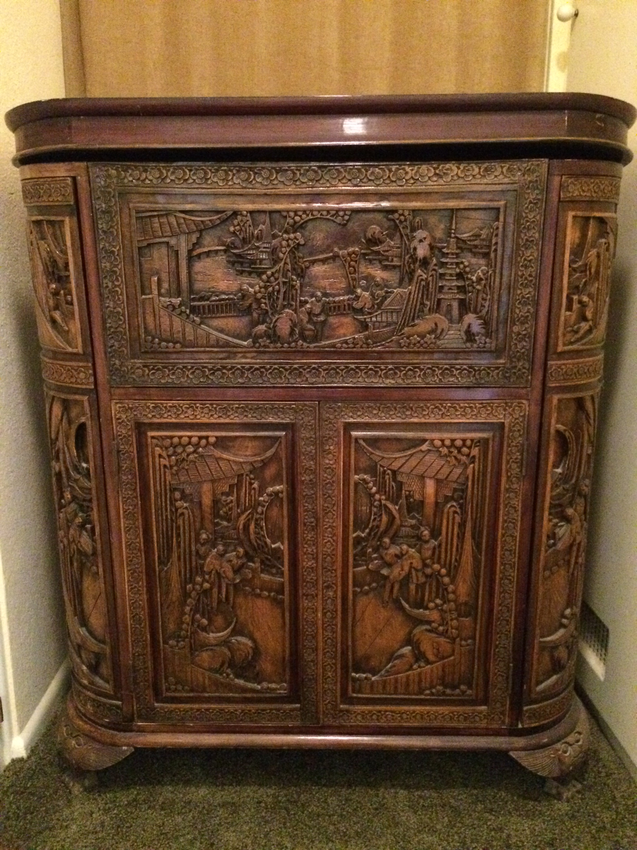 Asian carved wood liquor cabinet antique appraisal for Old asian furniture