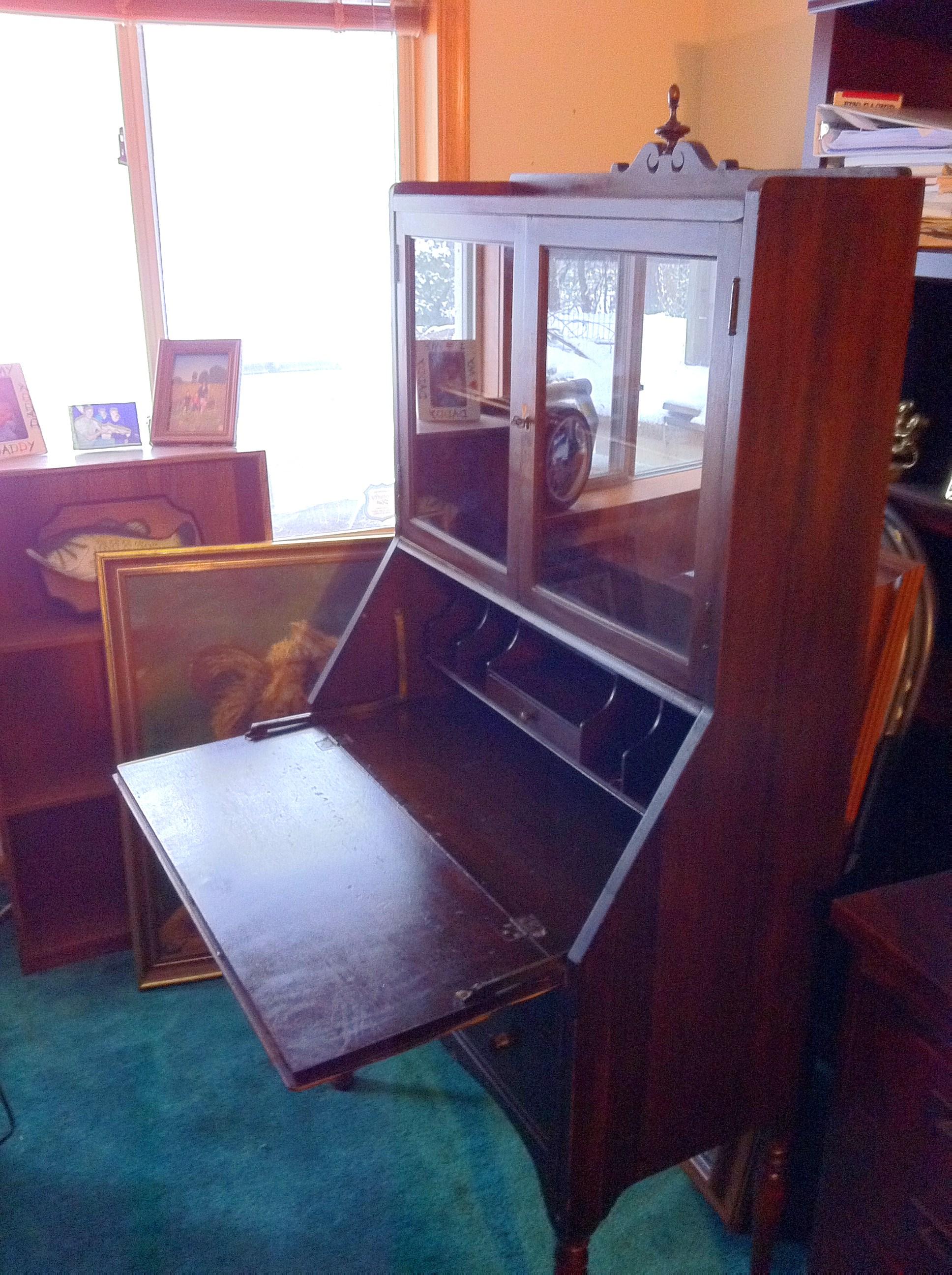 Antique Secretary Desk   Drops Down In Front