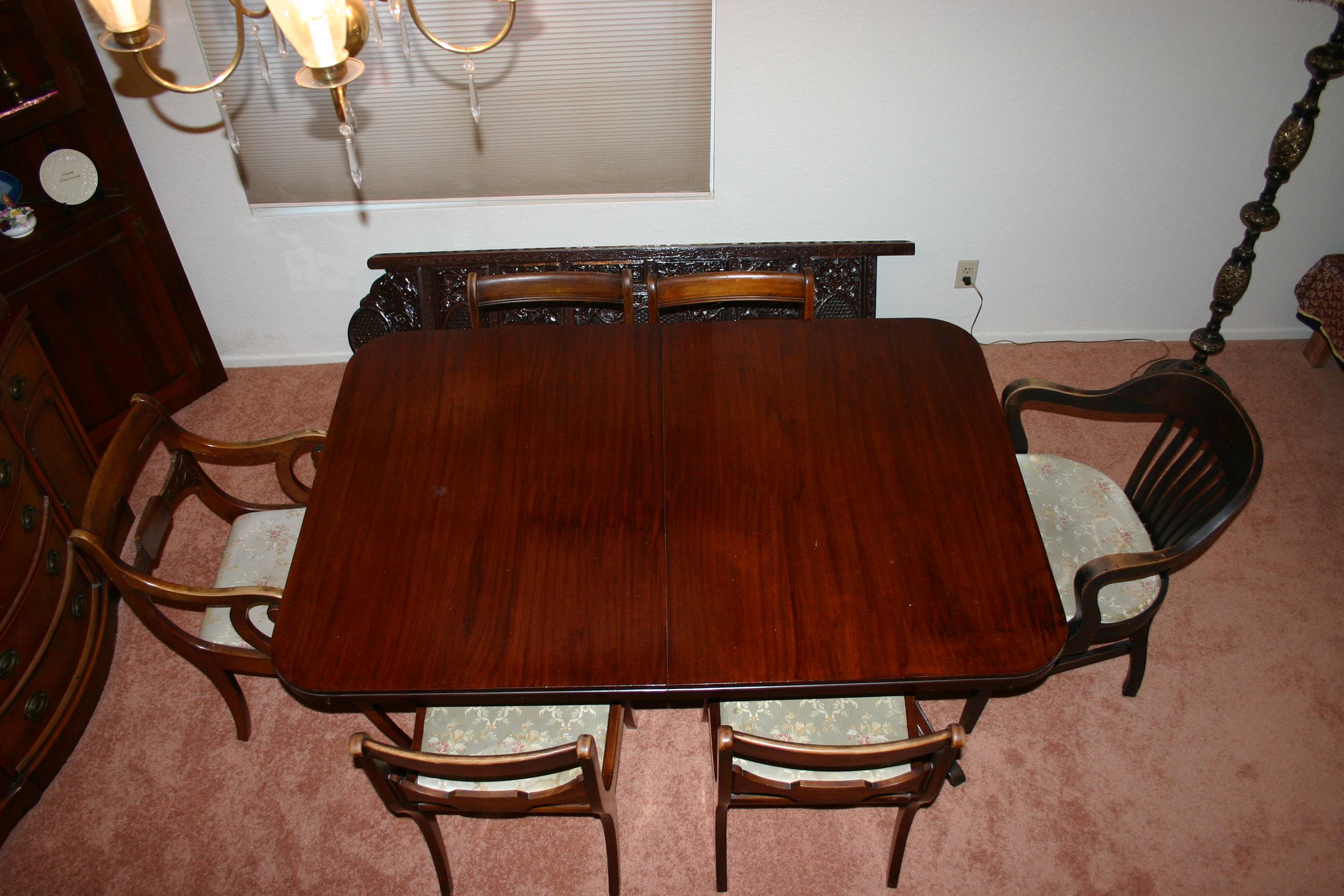 Drexel Heritage Travis Court Dining Table and Chairs antique