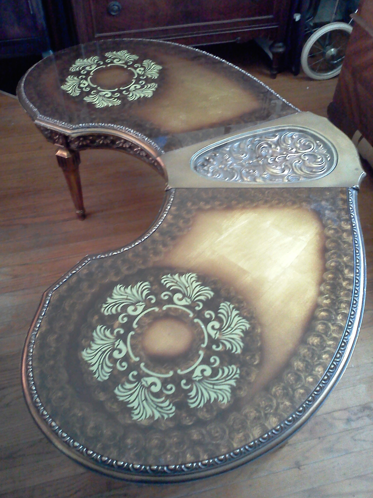 Kidney Shaped Glass Inlay Vintage Coffee Table antique appraisal