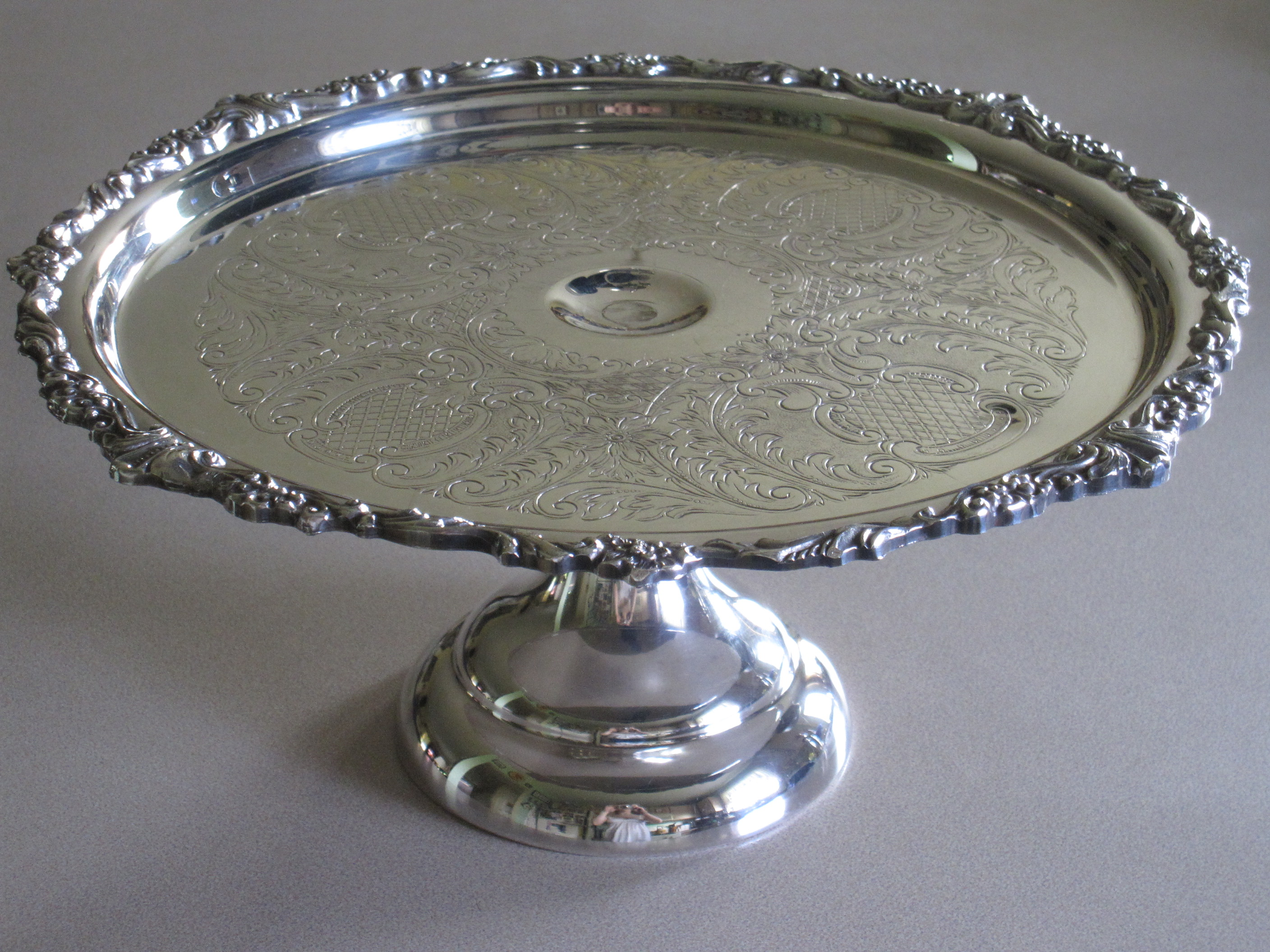 Vintage SHERIDAN Silverplated Cake Stand Tray antique appraisal & Unique Pictures Of Silver Plate Cake Stand - Best Home Plans and ...