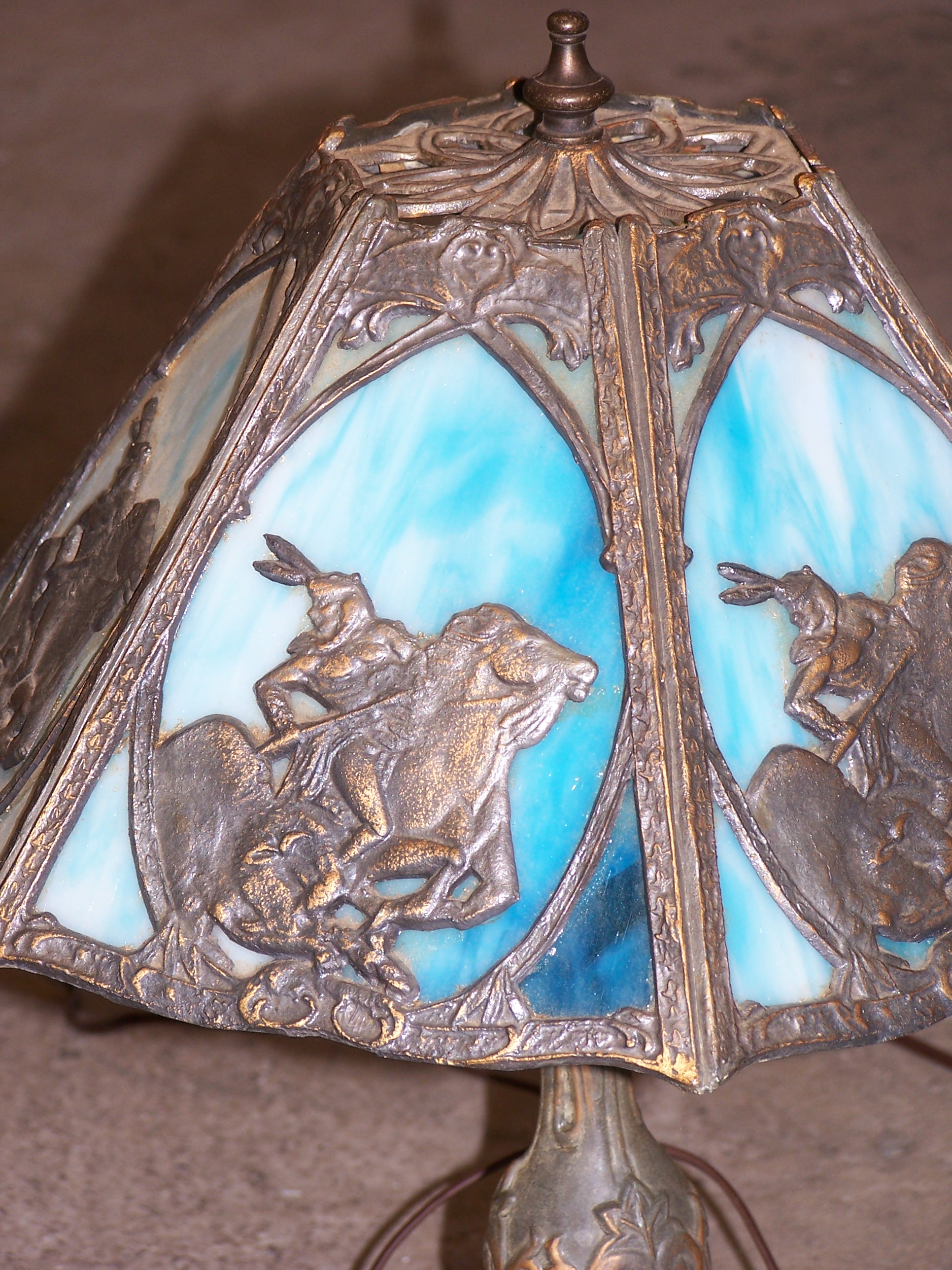 Slag glass table lamp native american motif pair antique appraisal slag glass table lamp native american motif pair aloadofball Image collections