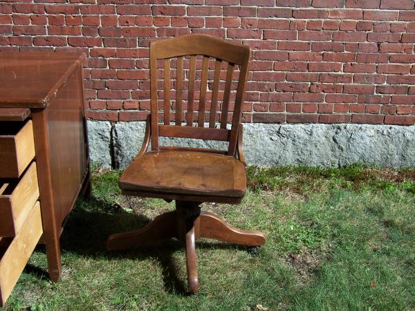 Vintage Small Wood Executive Desk And Swivel Office Chair