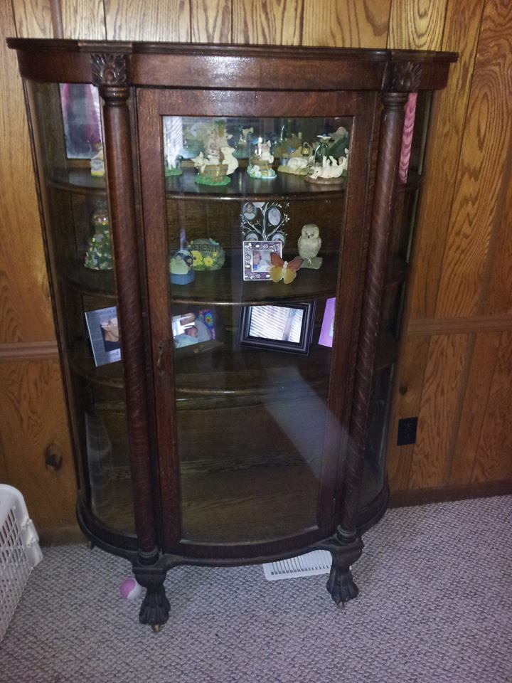 Genial Antique Curved Glass Curio Cabinet