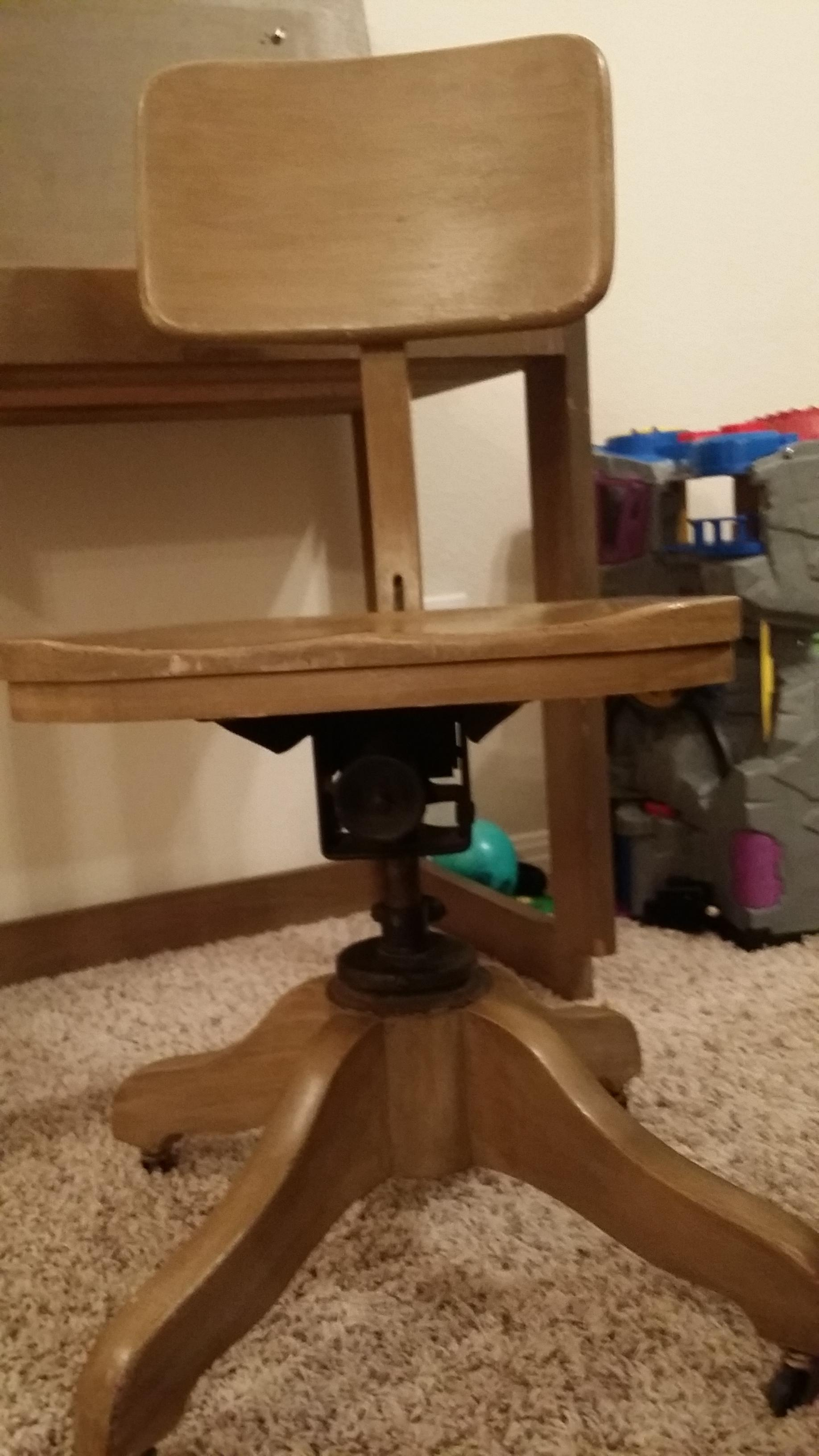 TRUE GRAND RAPIDS CABINET MAKING CERTIFIED desk and chair antique ...
