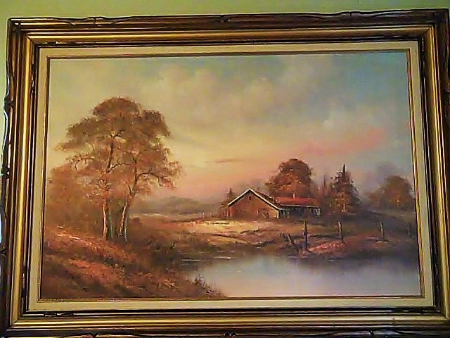 oil painting canvas and framed artist bennett country