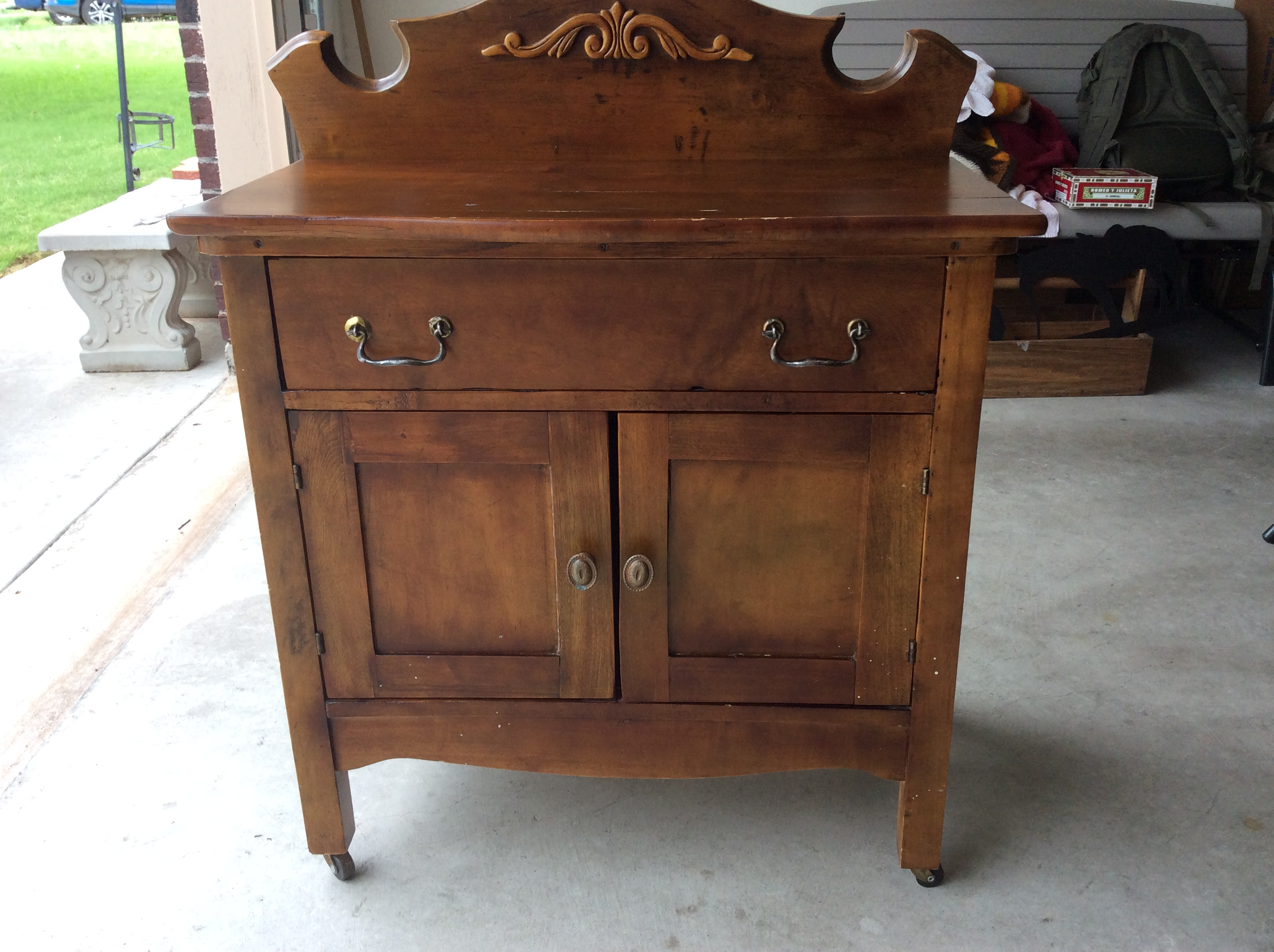 Superieur Antique Small Cabinet W/drawer And Wood Wheels