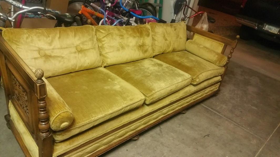 Vintage Gold Crushed Velvet Sofa With Decorative Wood