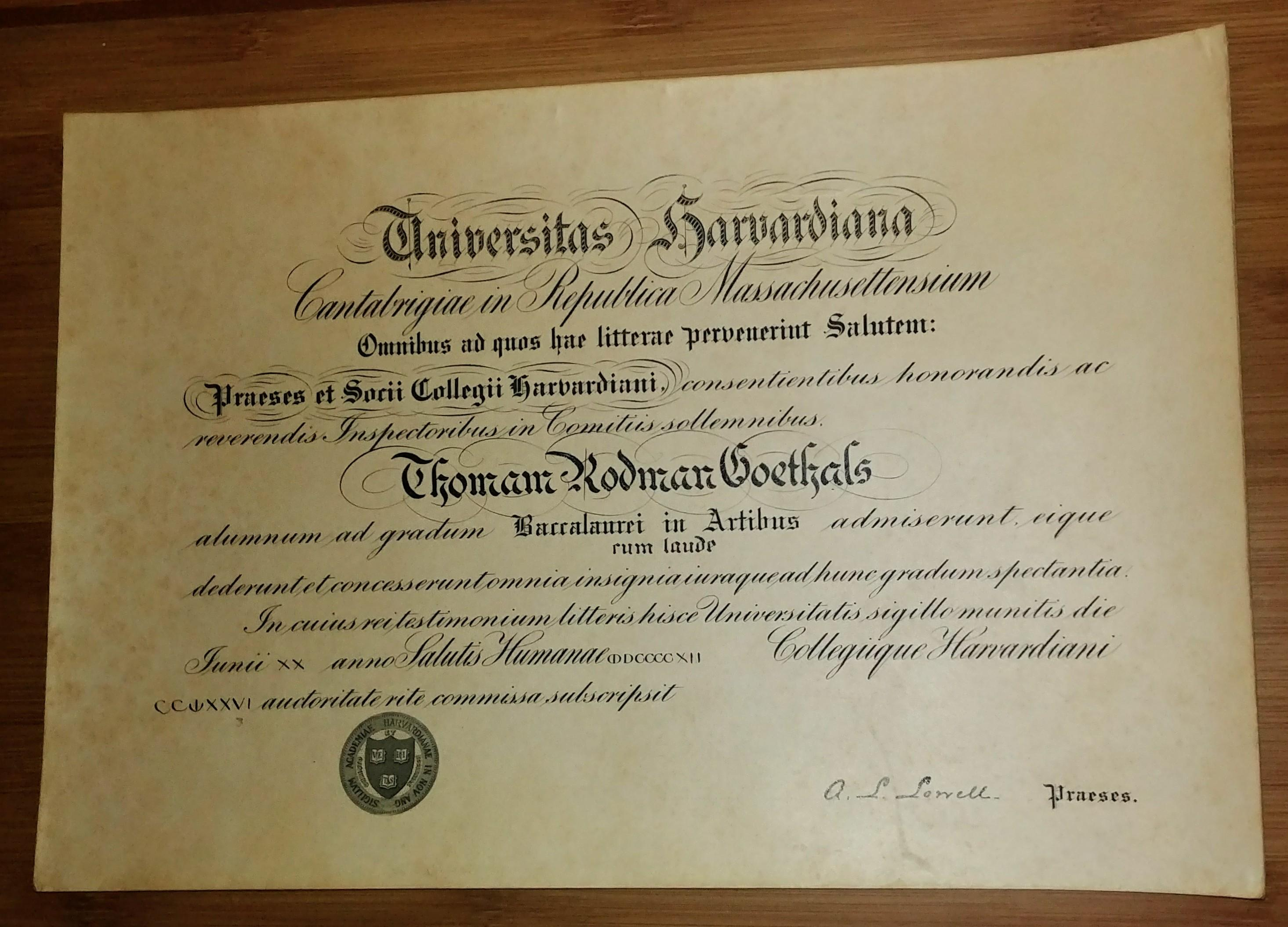 Antique 1912 Harvard Diploma