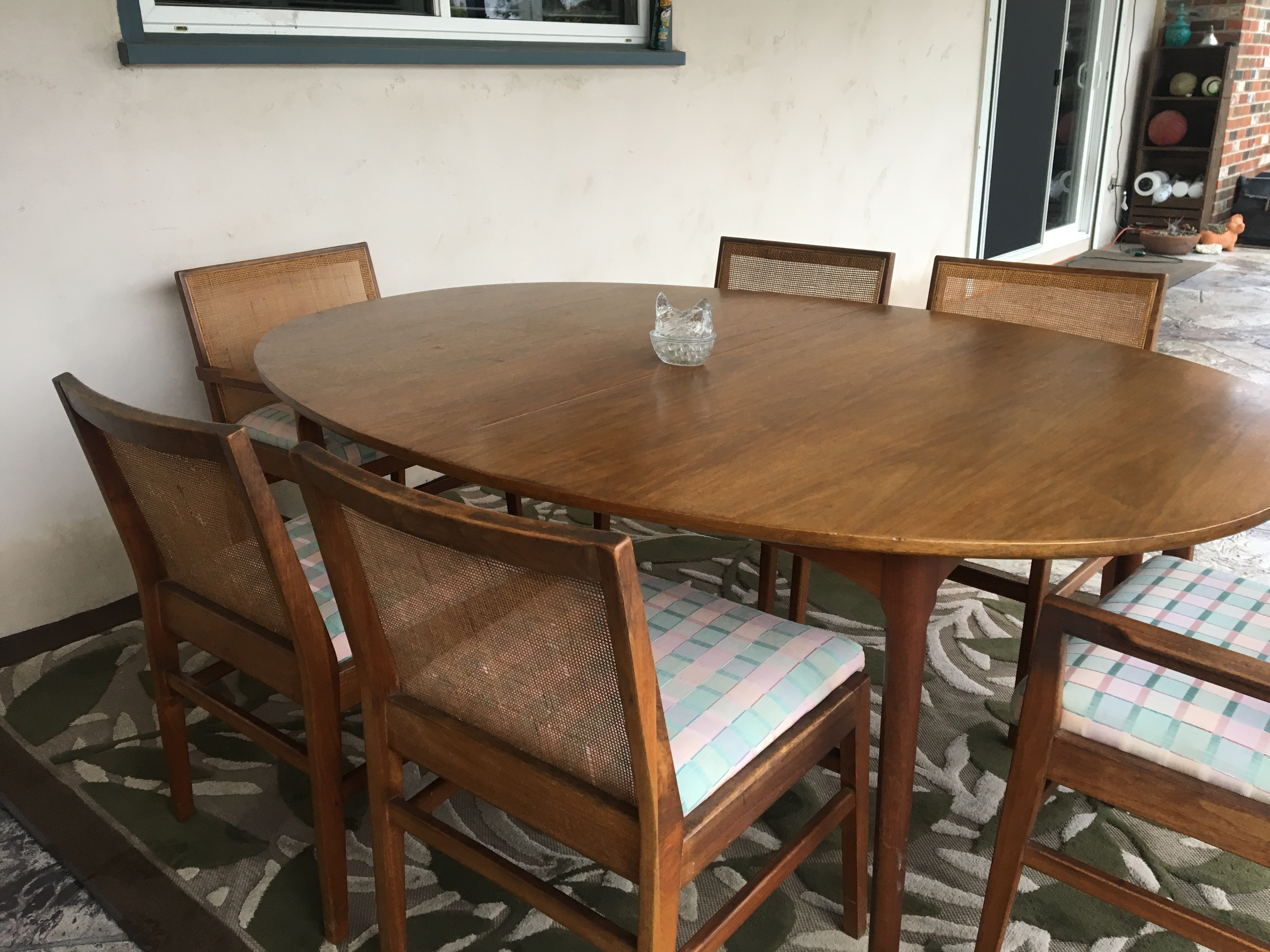 Mid Century Modern Cane Back Dining Chairs Oval Table Antique Appraisal Instappraisal