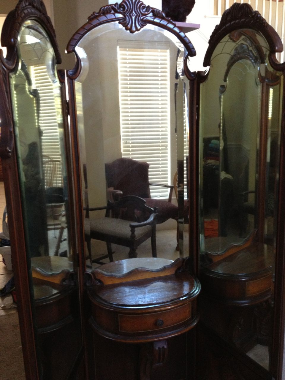 Early 1900s Vanity 3 Way Mirror And Dresser Set Antique