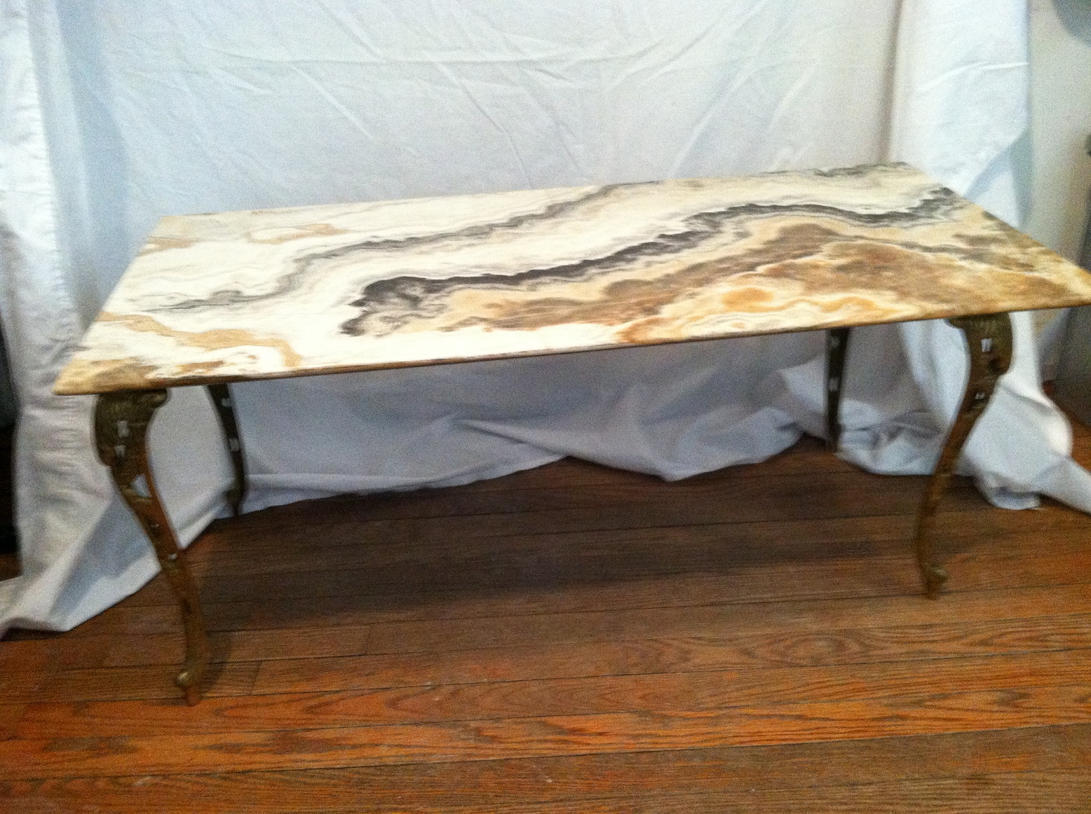 Stone Top Coffee Table With Brass Leaf Shaped Legs