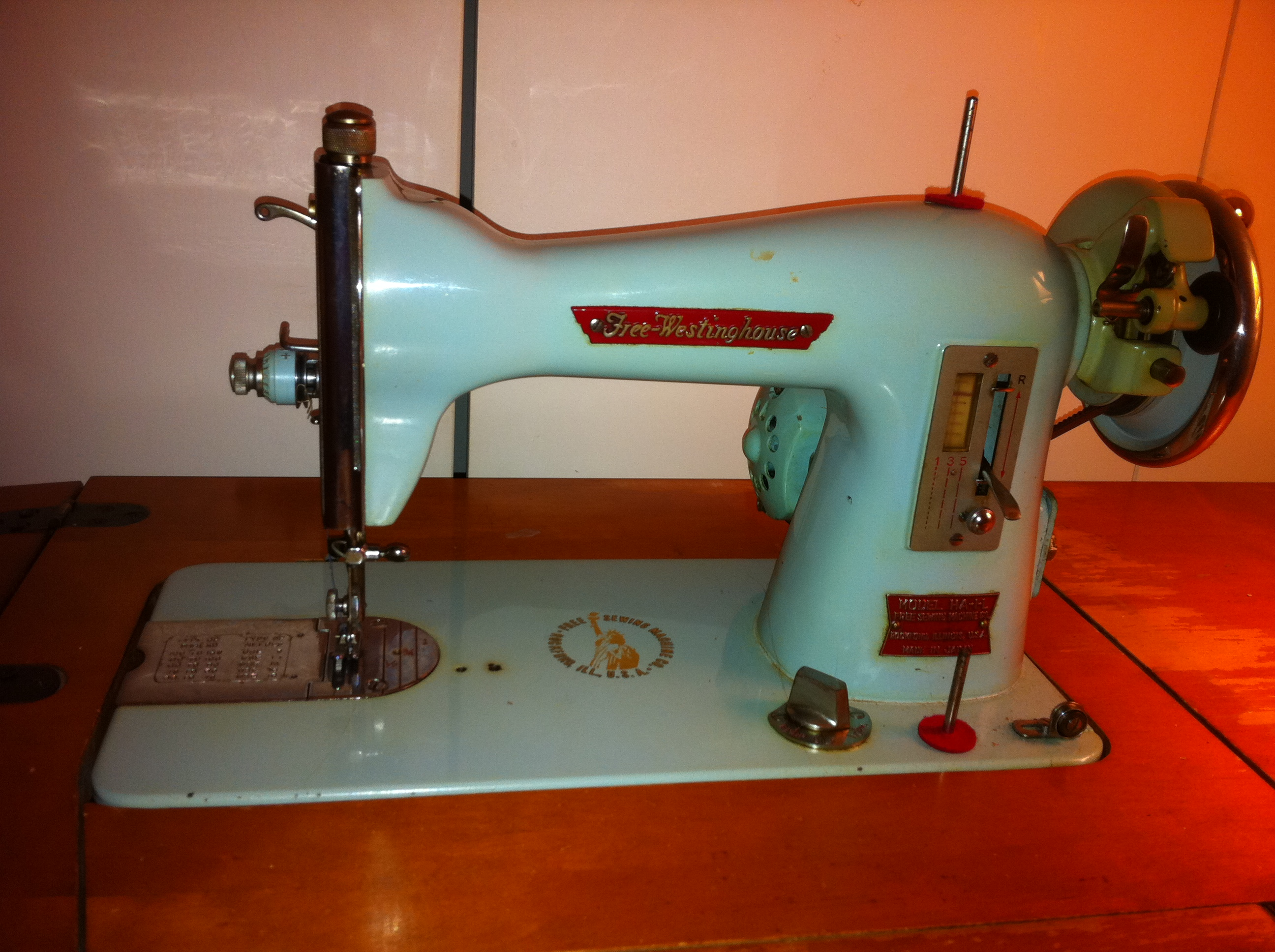 1968 Free-Westinghouse Electric Sewing Machine Model HA-1-L in ...