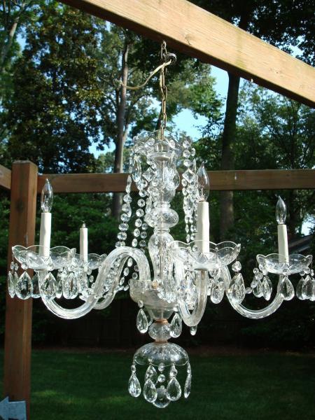 Vintage 5 arm light crystal glass chandelier antique appraisal vintage 5 arm light crystal glass chandelier aloadofball Images