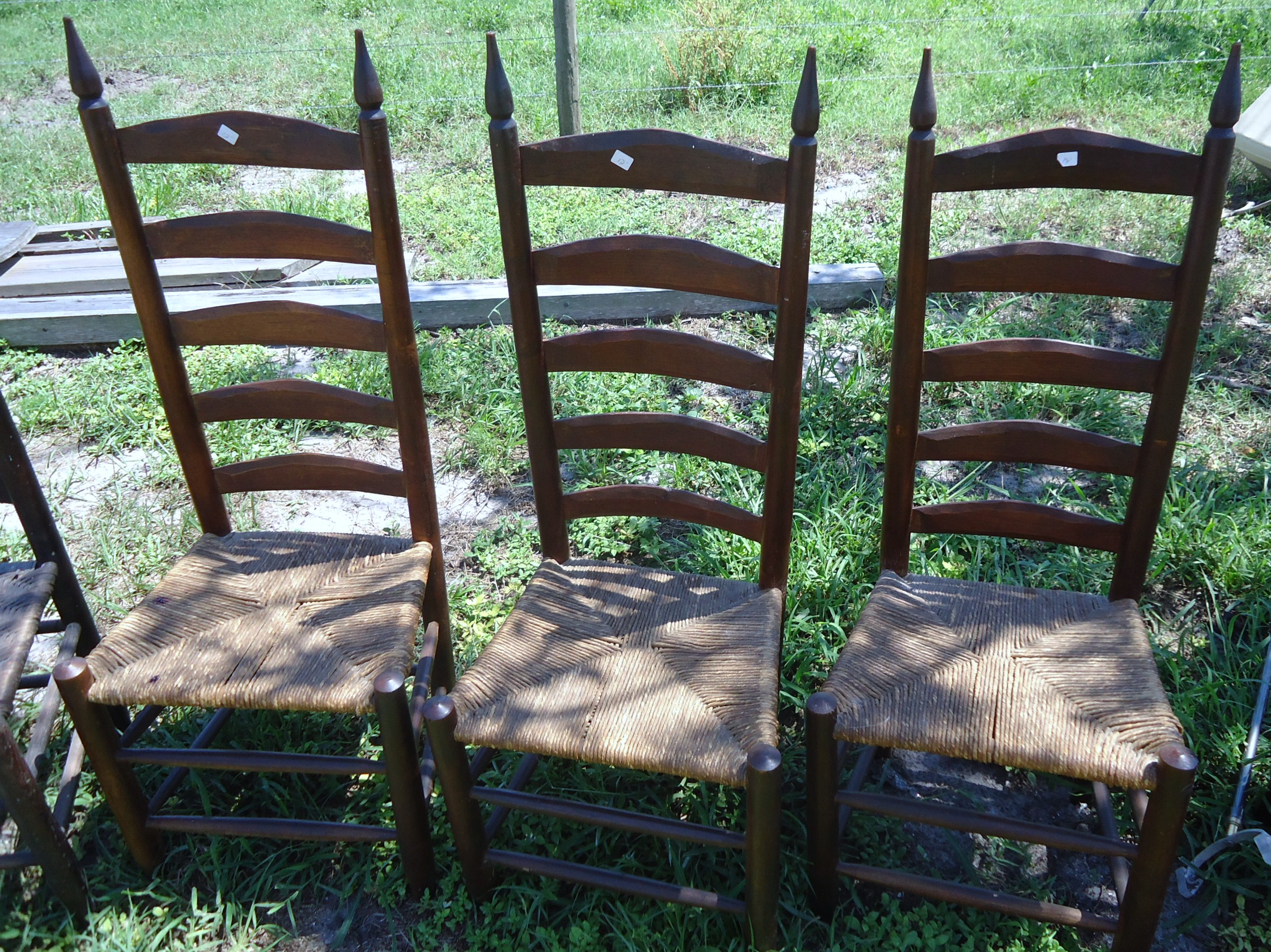 Delicieux 3 Ladder Back Chairs Hand Carved Possibly Maple Or Pine With Rush Seat