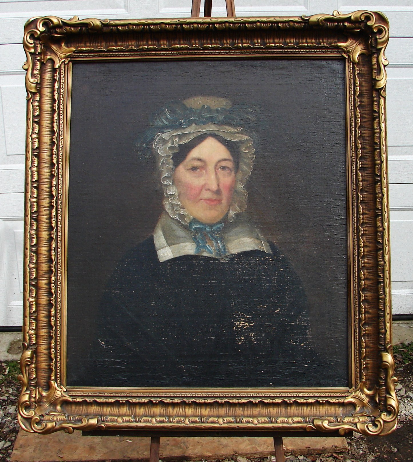 Antique Framed Oil On Canvas Portrait Of A Woman Painting