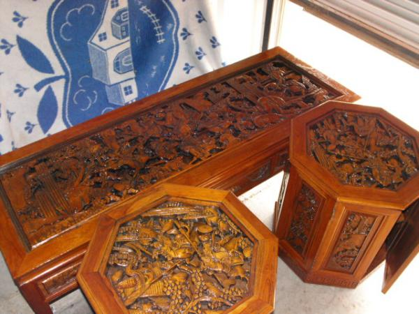 Beau Antique Oriental Hand Carved Tables