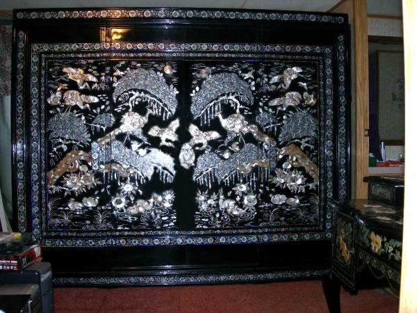 1800 S Abelony And Mother Of Pearl Wardrobe Cabinet And