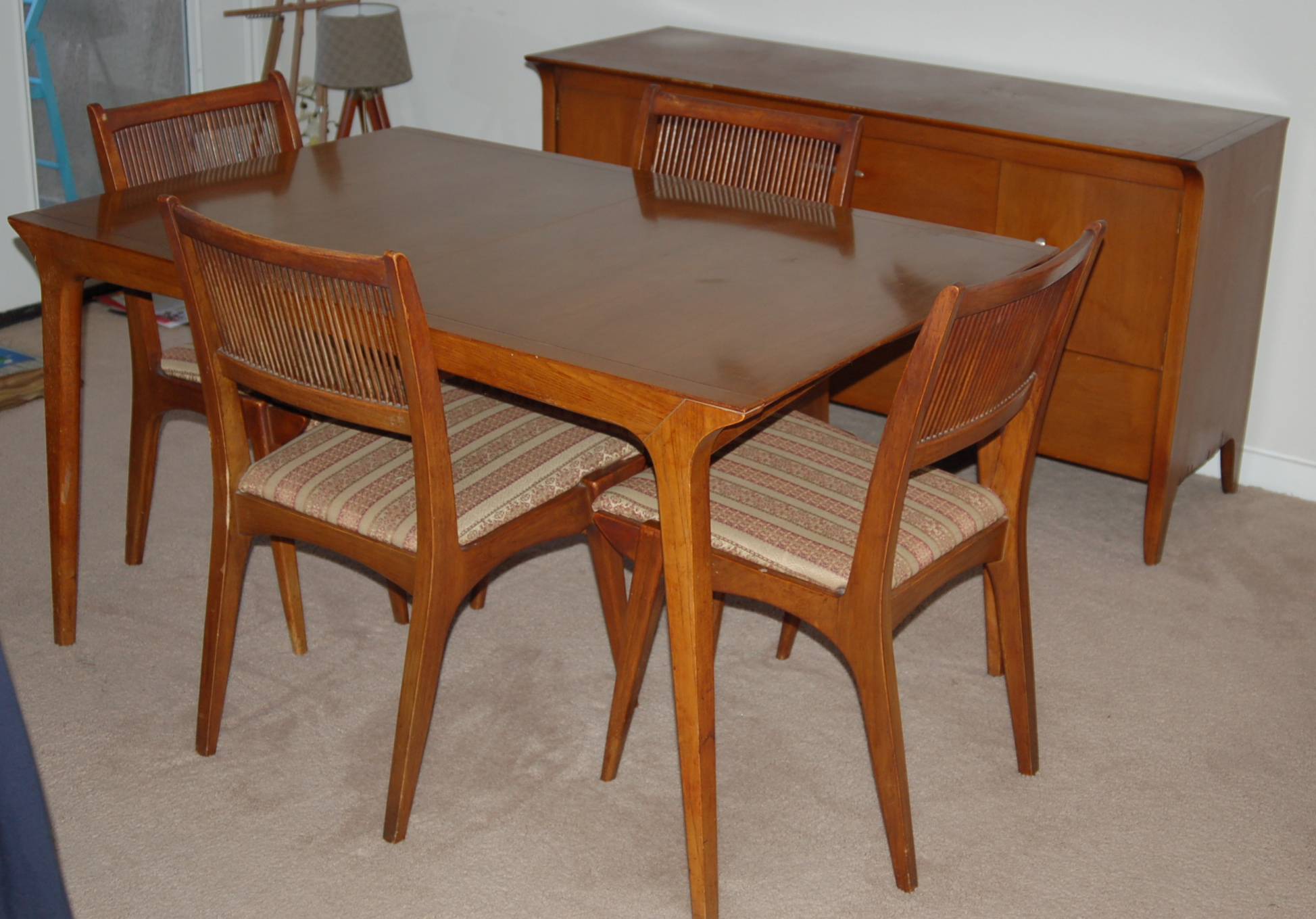 Amazing 1958 Drexel Profile Dining Set With Side Buffet
