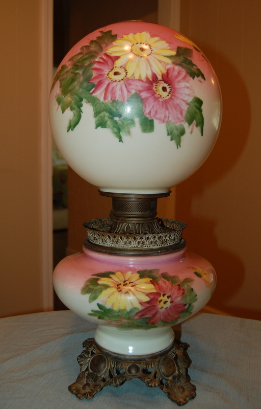 antique hand painted lamps Hand painted antique globe lamp antique appraisal | InstAppraisal antique hand painted lamps