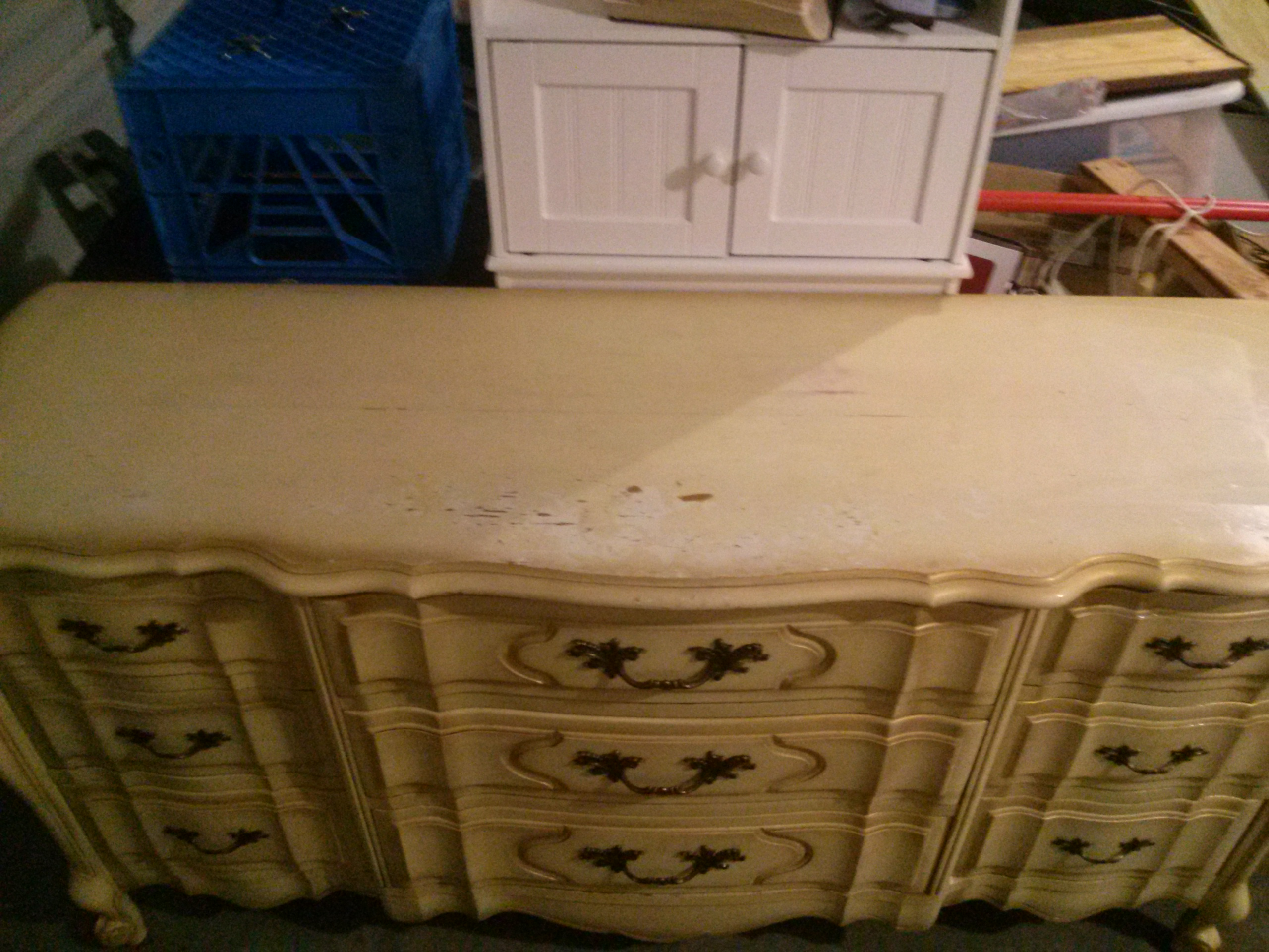 French Provincial 9 Drawer Dresser In Original Condition