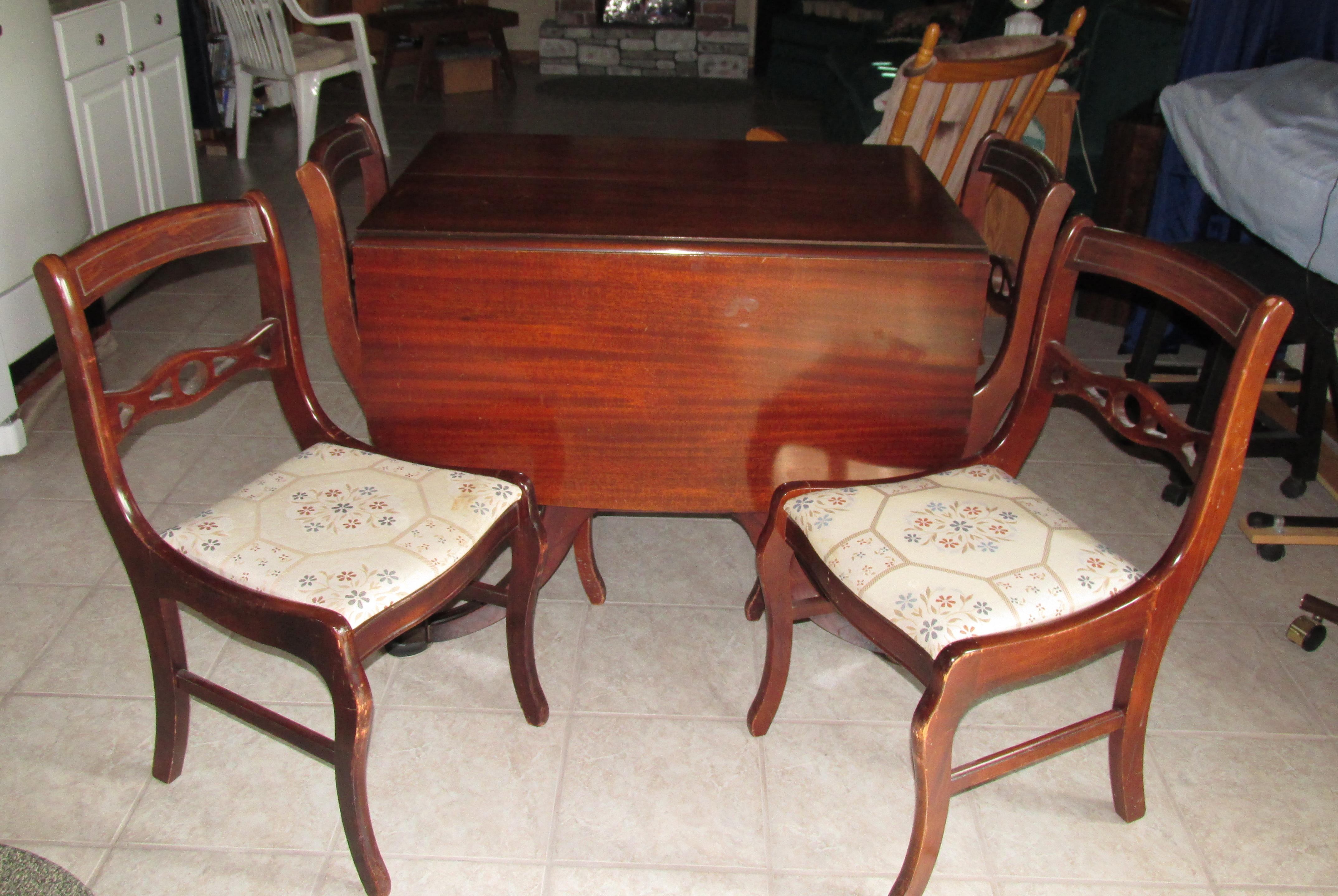 Vintage  Double Drop leaf Table and chair setVintage  Double Drop leaf Table and chair set antique appraisal  . Antique Drop Leaf Dining Table Set. Home Design Ideas