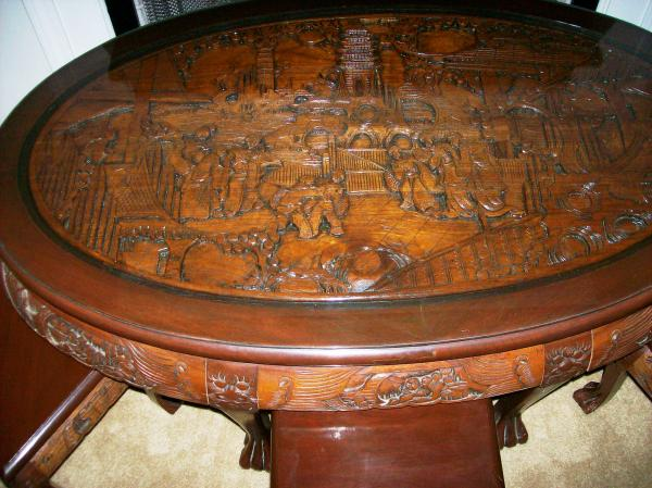 Admirable Oriental Hand Carved Oval Coffee Table With 6 Stools Antique Gmtry Best Dining Table And Chair Ideas Images Gmtryco