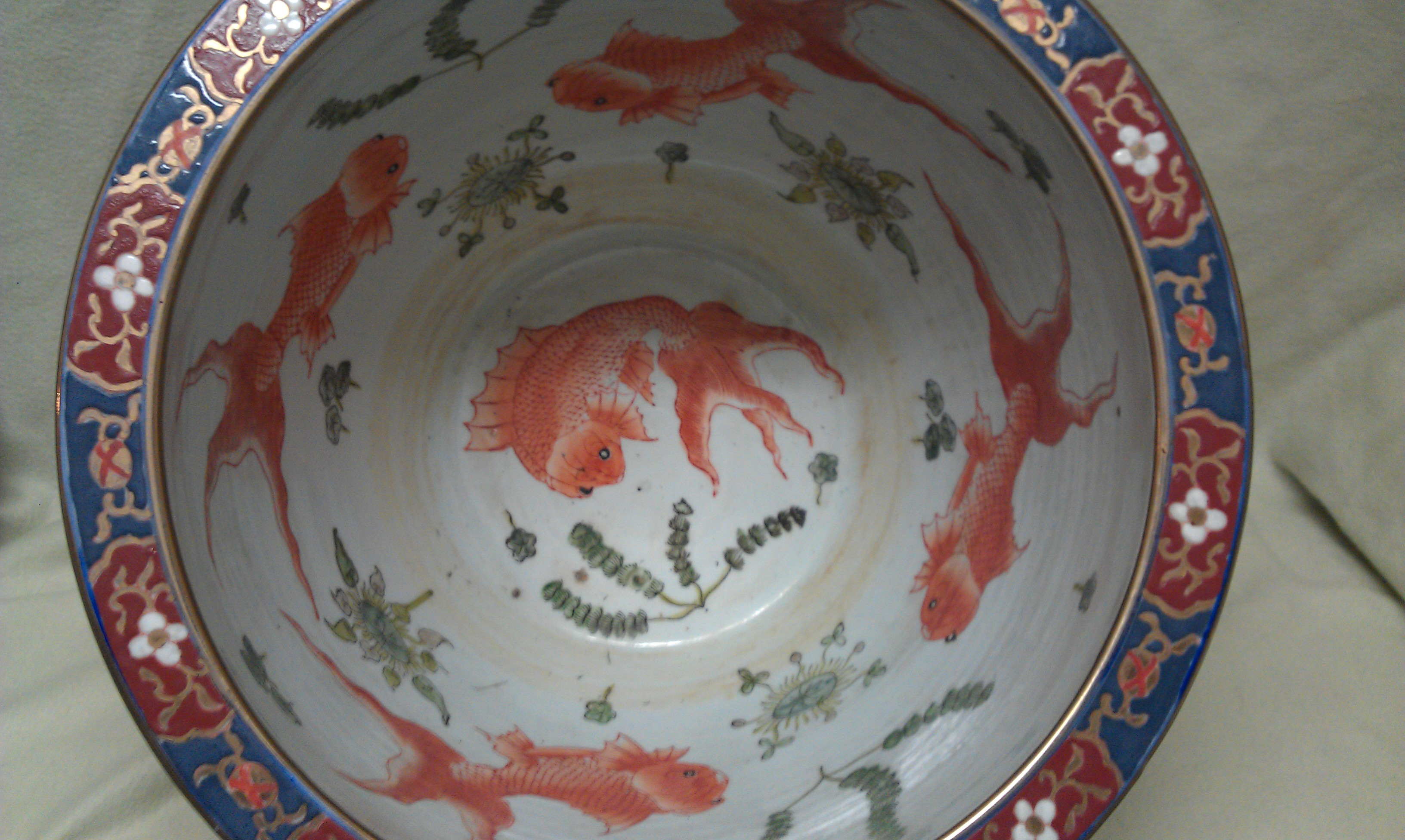 Help Identifying This Large Fishbowl Planter Hand Painted With Koi