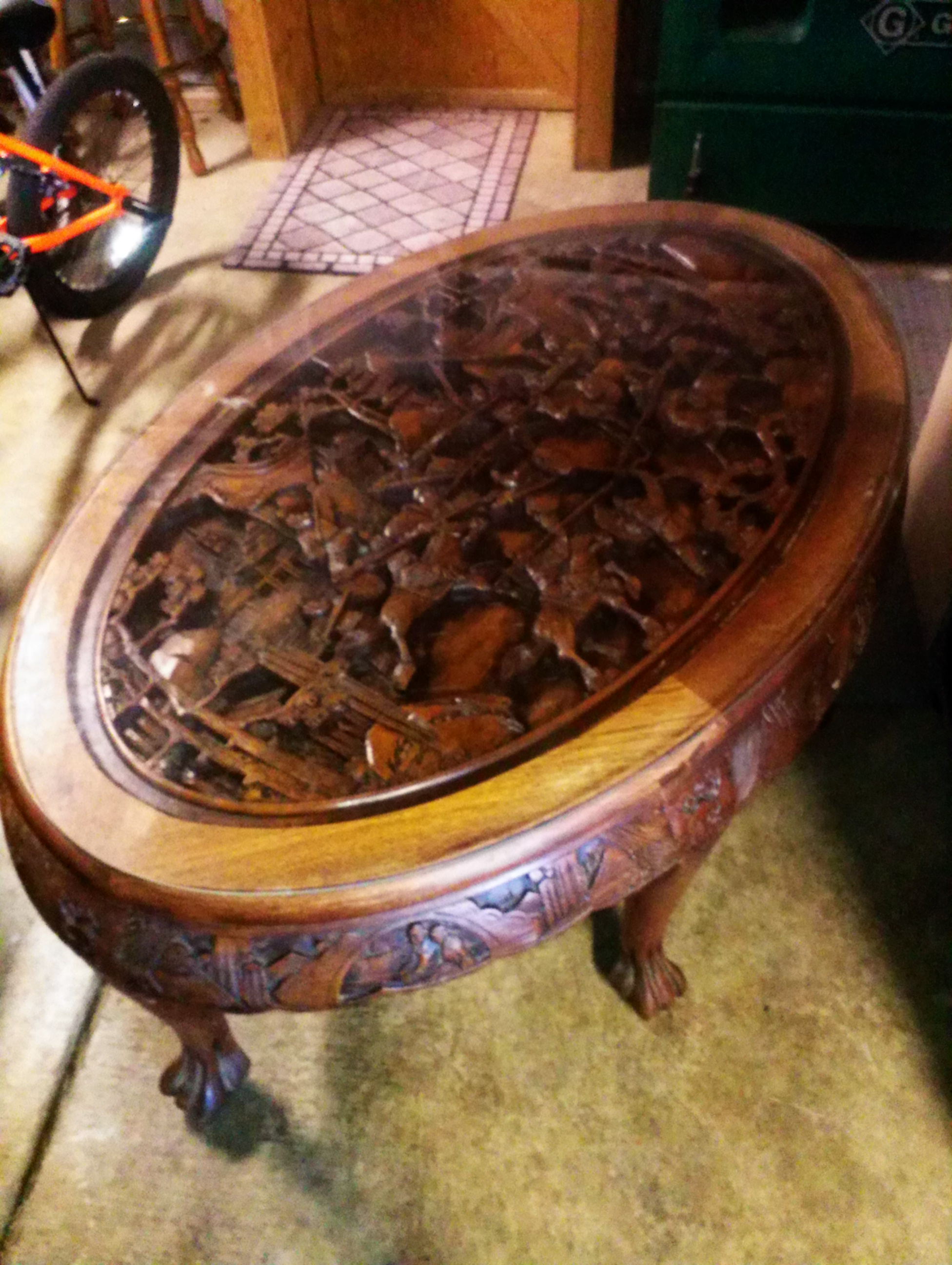 Cool Chinese Carved Oval Table With 6 Stools Antique Appraisal Gmtry Best Dining Table And Chair Ideas Images Gmtryco