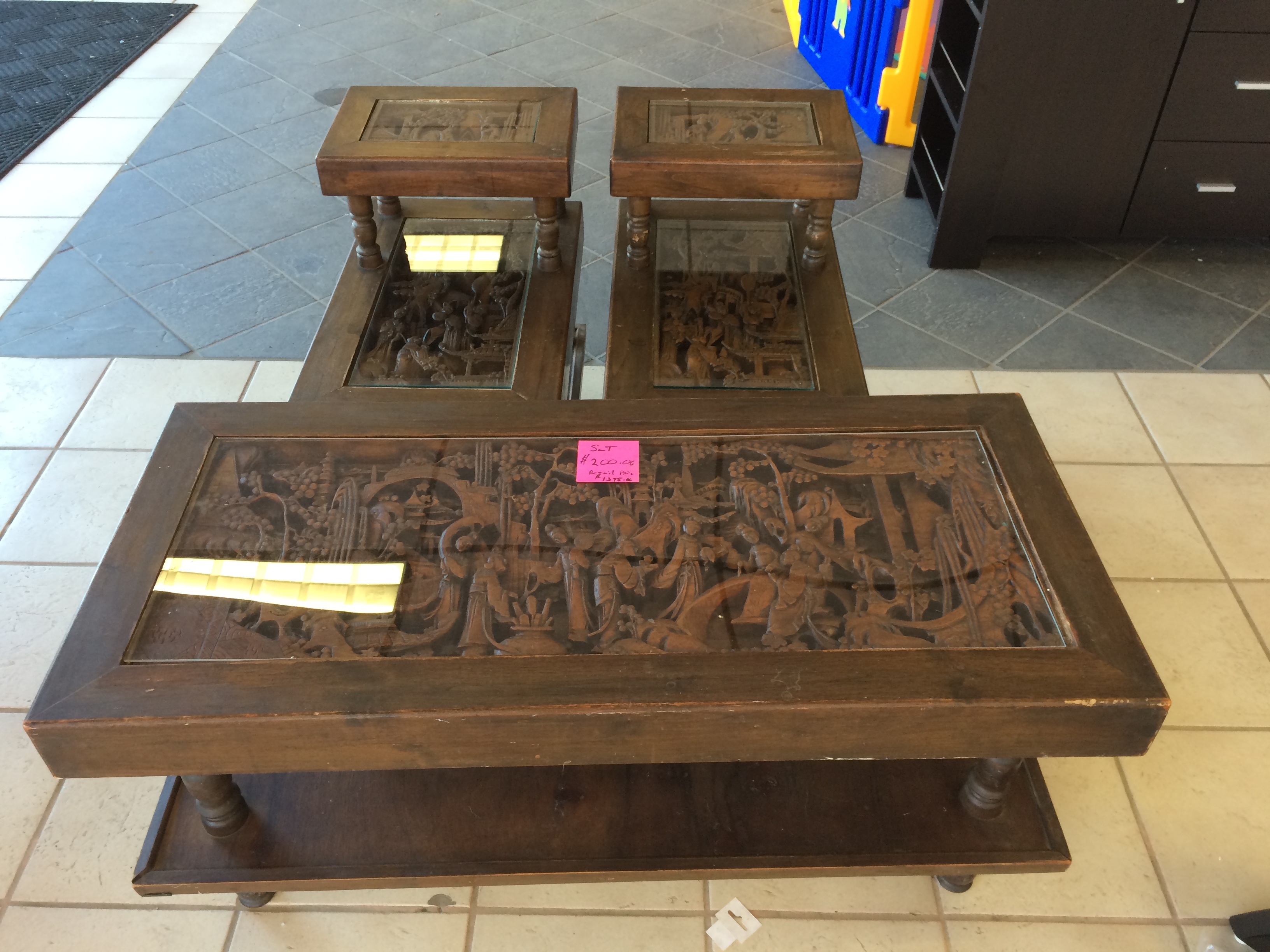 Japanese hand carved coffee table and end tables antique appraisal