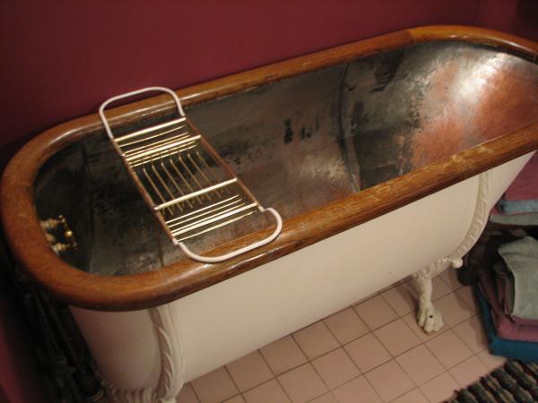 Antique Tub Circa 1850s Copper Claw Foot W Original Oak Ring