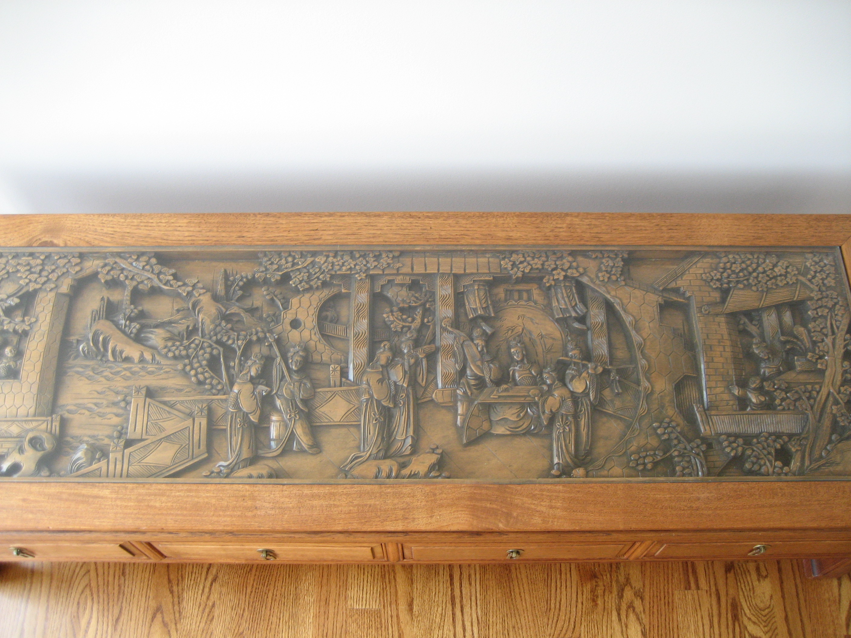Quot oriental coffee table with hand carved peaceful village