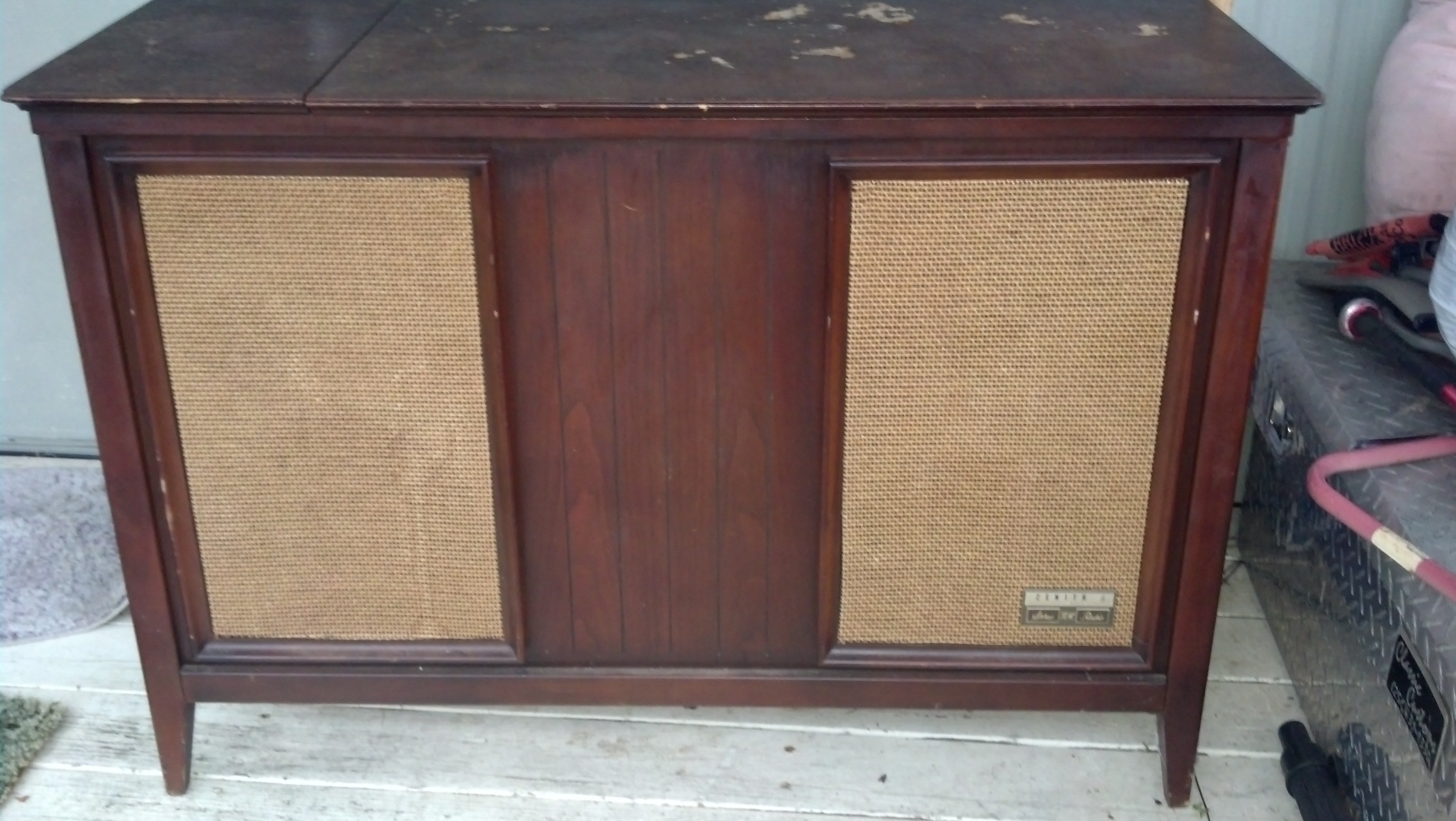 vintage zenith stereo and record player console antique appraisal ...