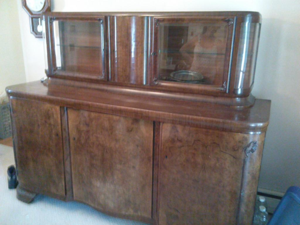 Antique German Schrank And Sideboard Made Of Walnut Burl Antique