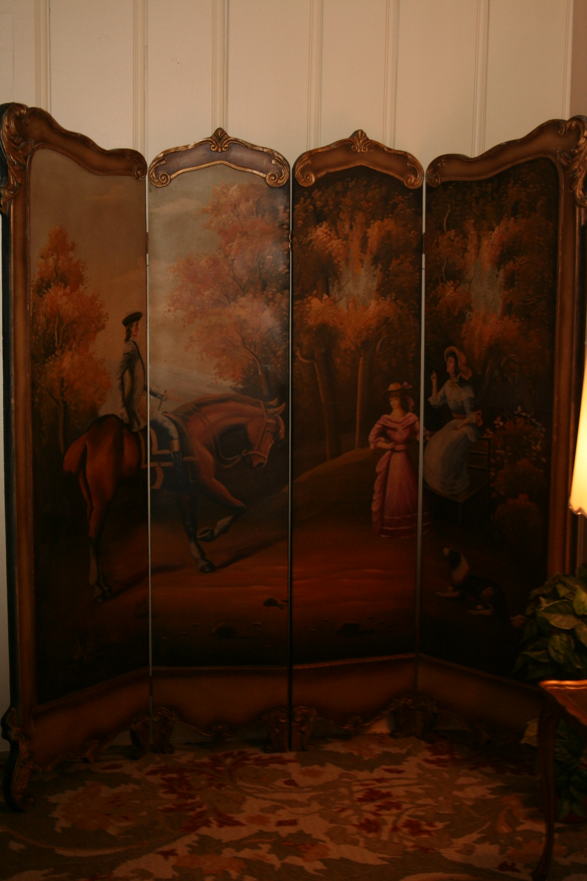 Vintage Antique French Provencial Painted Panel Floor Screen Room