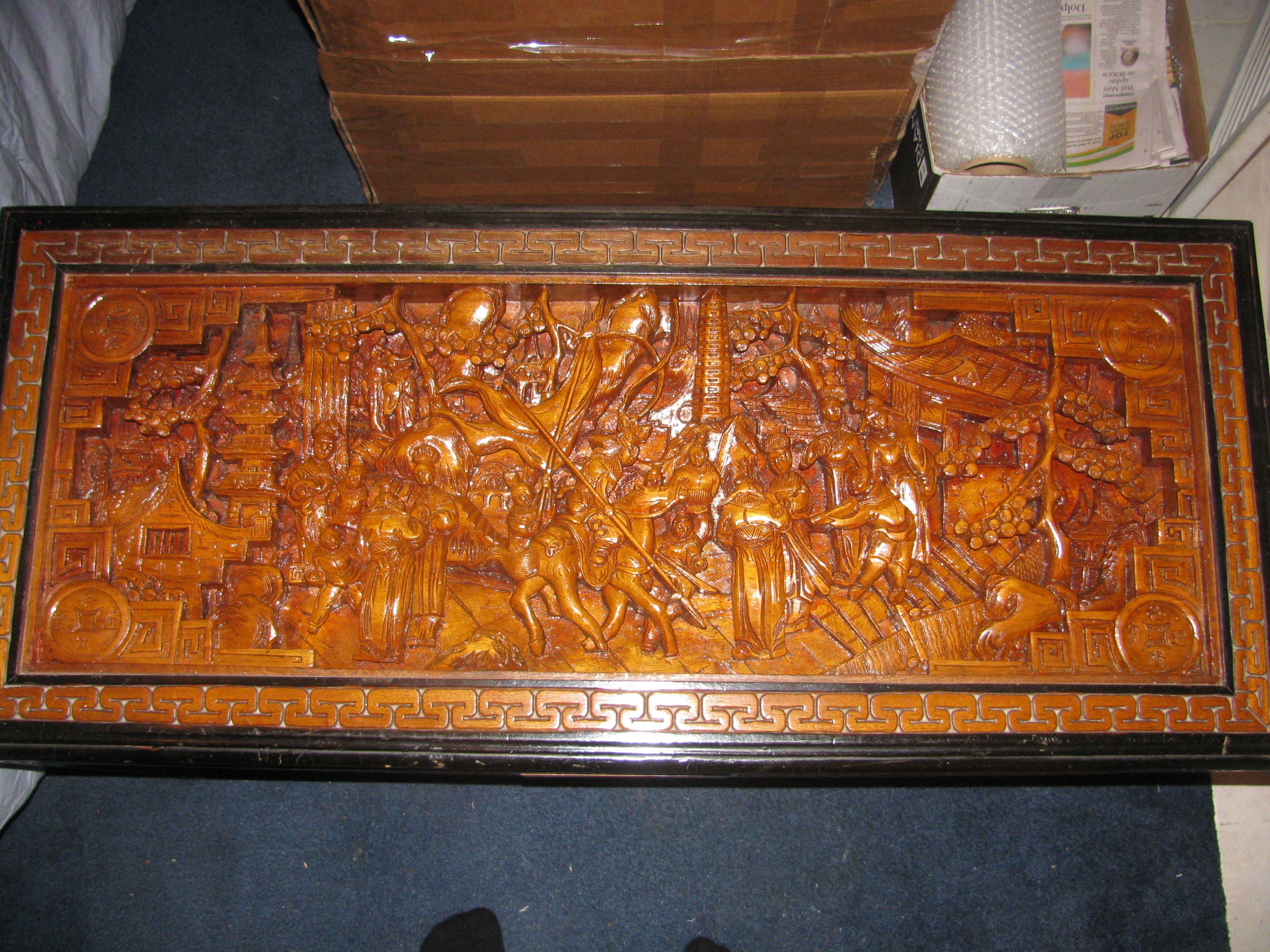 Antique Carved War Scene Oriental Coffee Table with Two Side