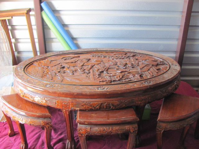 Nice Hand Carved Coffee Table With Stools