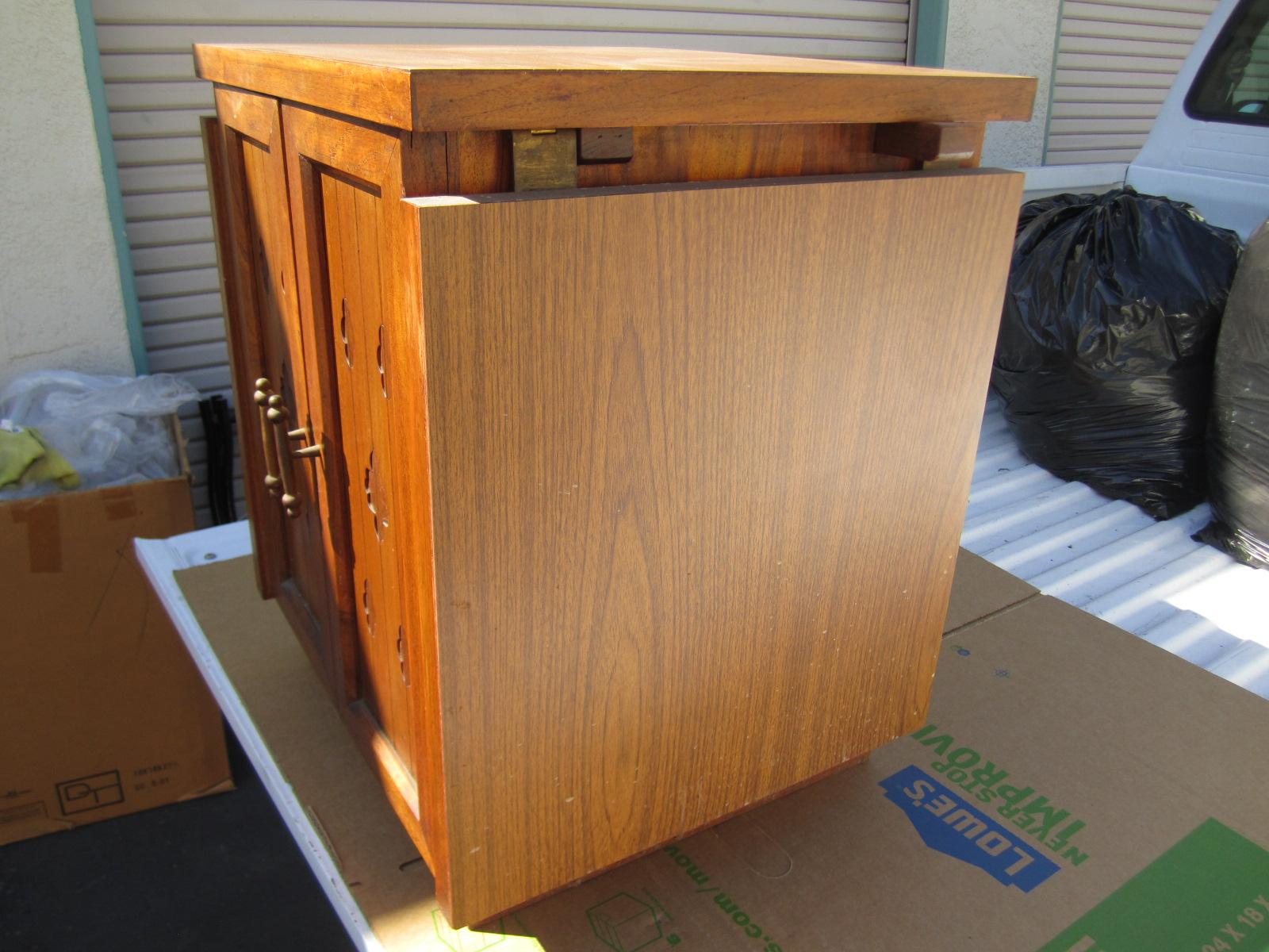 Antique Vintage Wood Cabinet Shelf Extendable Expandable Top Table ...