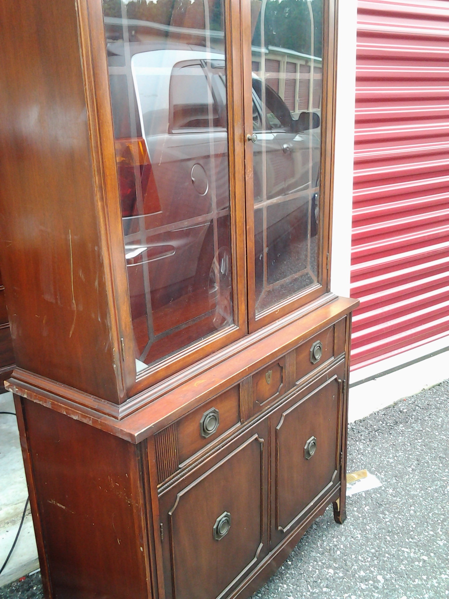 Bernhardt Antique Hutch And Sideboard Buffet Mahogany