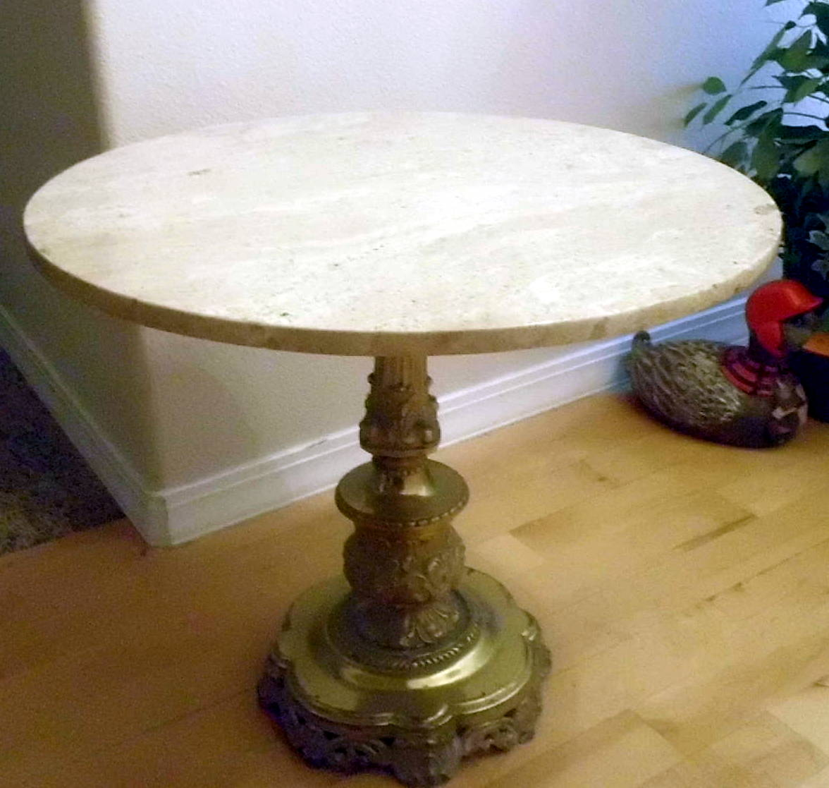 """24"""" Marble Table With Antique Brass Stand Antique"""