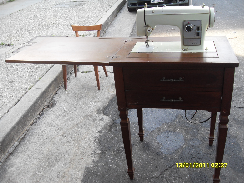 Antique Sears Sewing Machine Table with chair antique appraisal ...