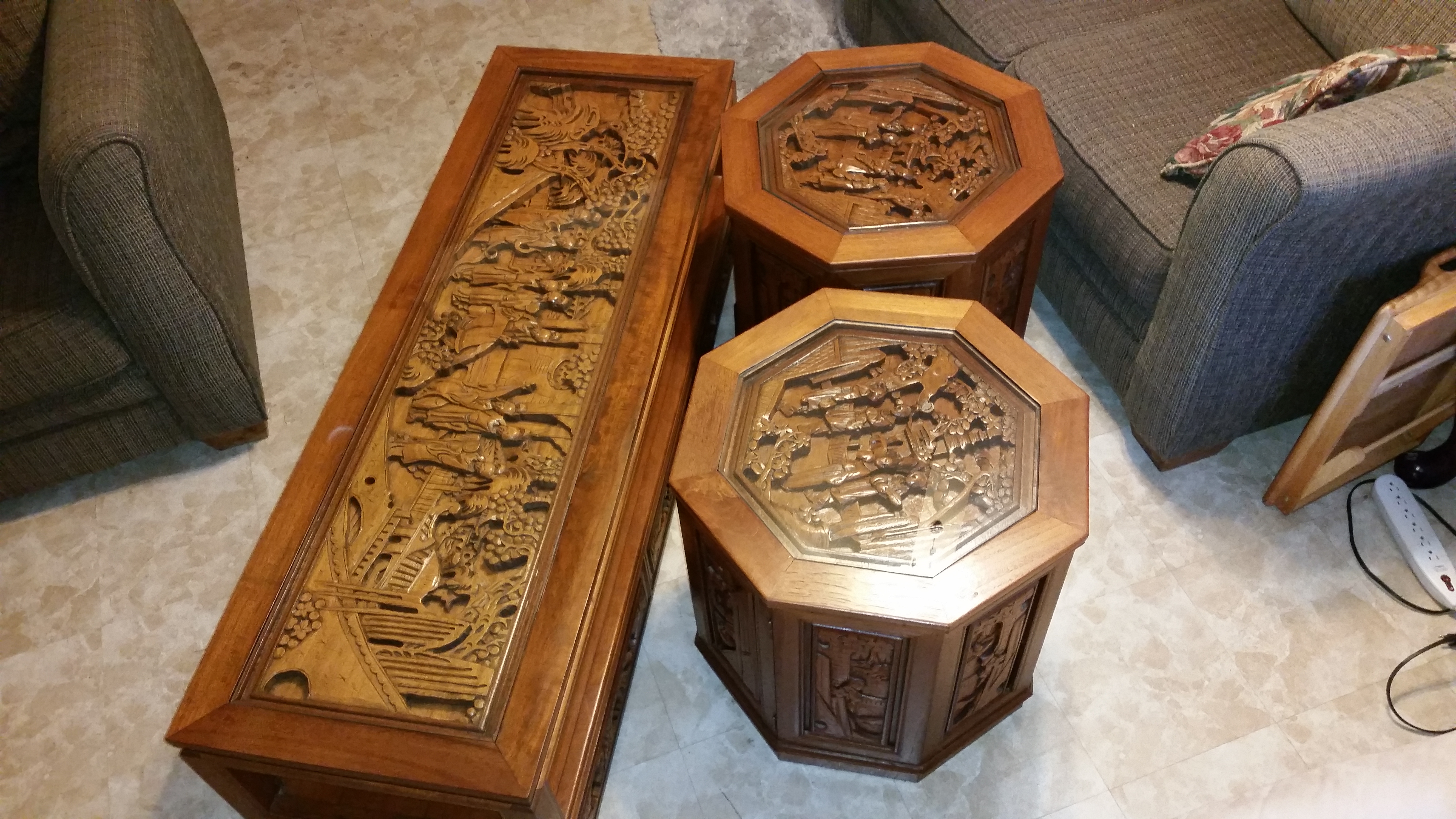 Asian Hand Carved Teak Wood Coffee Tables Appraisal