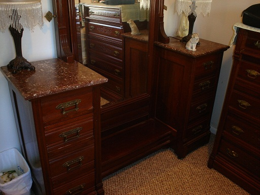 Antique Bedroom Vanity - Full Mirror w/ Marble Pedestals antique ...