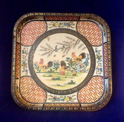 Intage Daher Decorated Ware Metal Square Tray Chickens Birds Made In