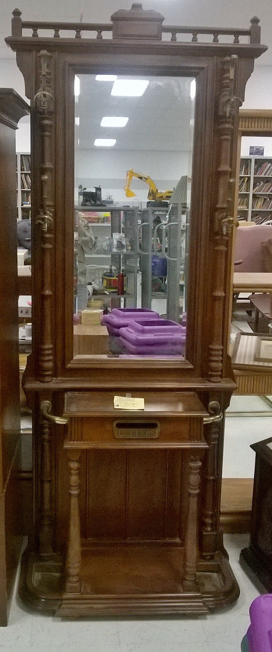 Hall Tree With Beveled Mirror And Mail Slot Box Antique