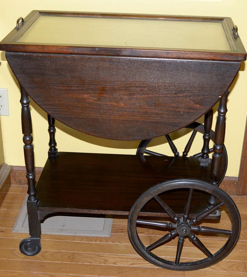 Antique Vintage Glass Topped Rolling Tea Cart Antique Appraisal