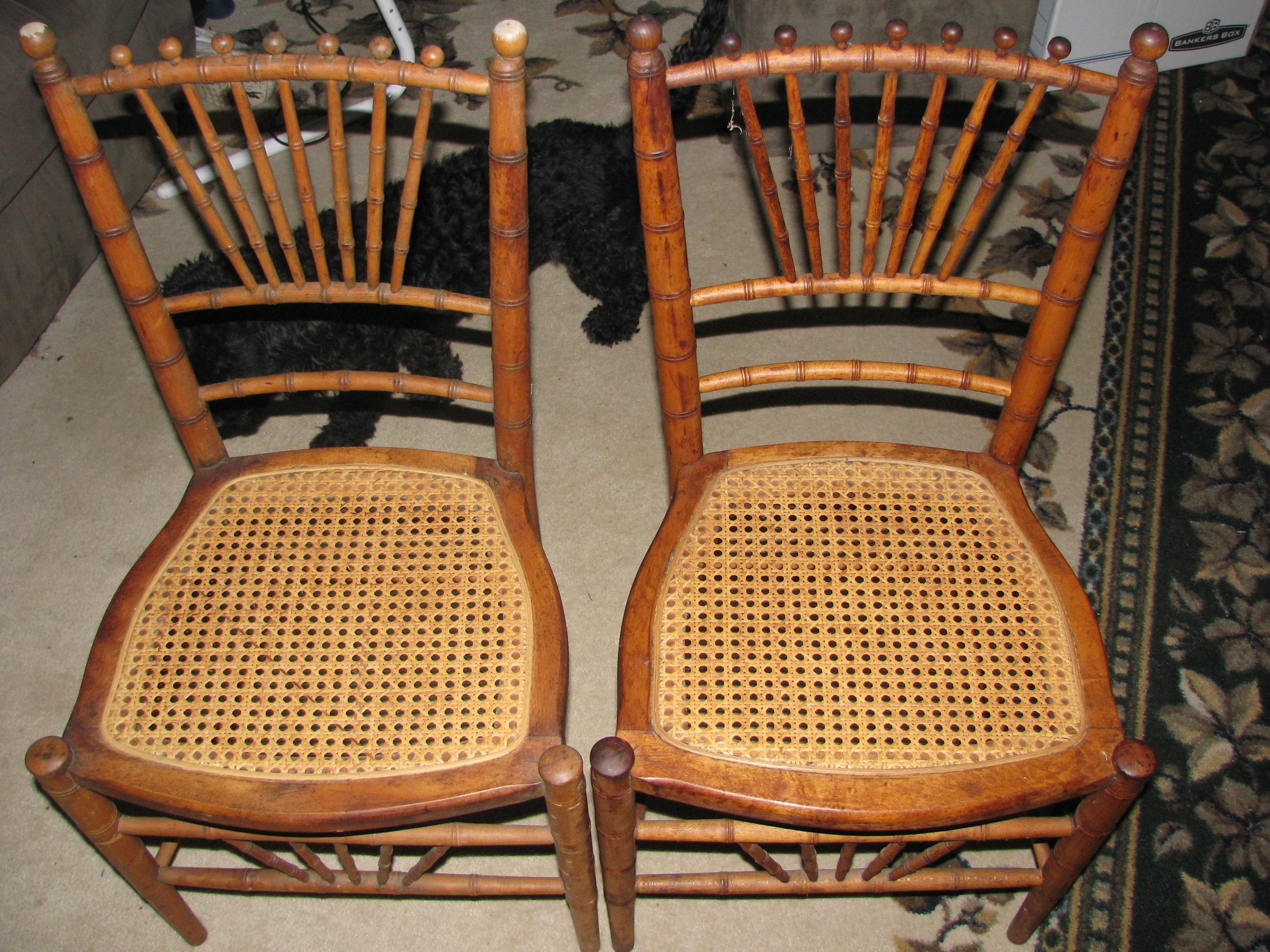 Etonnant 2 Antique Or Vintage Faux Bamboo Chairs With Pressed Cain Seats