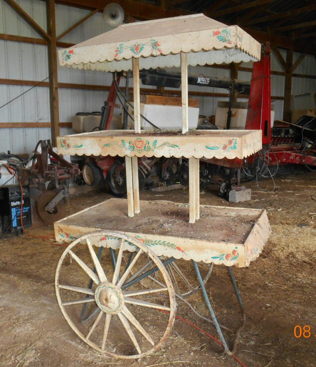 Antique Metal 2 tier display cart with canopy antique appraisal