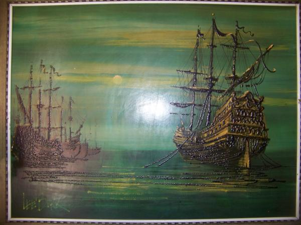 Lee Burr Signed Oil Ships In The Night Antique Appraisal
